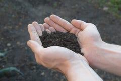 Poignée de Rich Brown Soil Image libre de droits