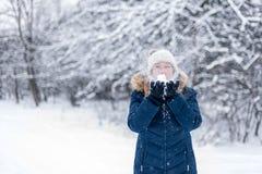 Poignée de soufflement de femme de neige photo libre de droits