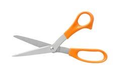 Poignée orange de couleur de ciseaux de bureau d'isolement sur le fond blanc Image libre de droits