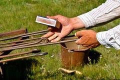 Poignées des fers de marquage à chaud réchauffant Image libre de droits