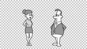 Cartoon Characters Handshake. Hand Drawn Animation. Alpha matte. Stock Footage