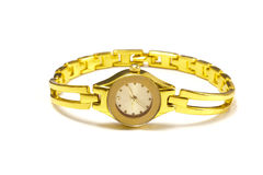 poignet de femme de montre d'or Photos libres de droits