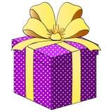 PoImitation комиксов Подарочная коробка с лентами Объект на белом растре предпосылки Иллюстрация вектора
