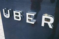 Poin de la recogida de Uber en Pekín, China imagen de archivo libre de regalías