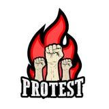 Poing augmenté tenu dans la protestation Photos libres de droits