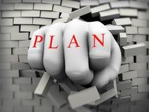 poing du plan 3d éclaté par le mur de briques Photo libre de droits