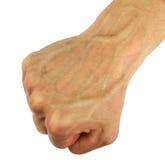 Poing humain avec la veine gonflée, d'isolement Photographie stock