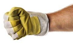 Poing intense de gant de main d'ouvrier image libre de droits