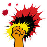 Poings de force, emblème d'arts martiaux. Vecteur. illustration stock