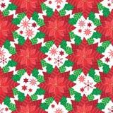 Poinsettia вектора красный с предпосылкой картины снежинок и звезд безшовной иллюстрация штока