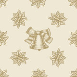 Poinsettia christmas bell flower pattern seamless. Background set Stock Photos