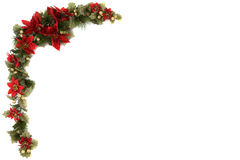 Poinsettia and Christmas decoration border. Border made of Christmas decoration. On white background and isolated, with some copy space for text Stock Photography