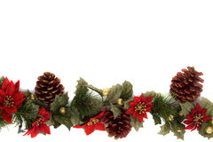 Poinsettia and Christmas decoration border royalty free stock photography