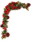 Poinsettia and christmas decoration border. Border made of Christmas decoration. On white background and isolated, with some copy space for text Stock Photo