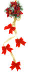 Poinsettia Christmas decoration with gold ribbon Stock Photos