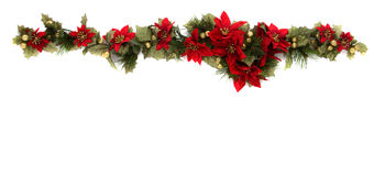 Poinsettia and Christmas decoration side border. Border made of Christmas decoration. On white background and isolated, with some copy space for text Royalty Free Stock Photography