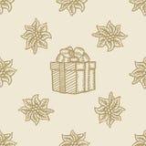 Poinsettia christmas gift box flower pattern Royalty Free Stock Photos