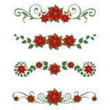 Poinsettia Christmas ornaments. Set of 4 poinsettia Christmas design elements Royalty Free Stock Image