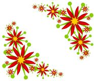 Poinsettia Corner Designs. A simple clip art illustration of a red and green poinsettia as decorative corner pieces Royalty Free Stock Images