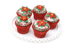 Poinsettia cupcakes Stock Image