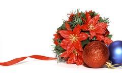 Poinsettia de la decoración de la Navidad foto de archivo