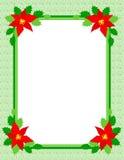 Poinsettia del marco de la Navidad Fotos de archivo