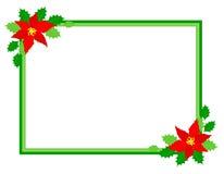 Poinsettia del marco de la Navidad Imagen de archivo