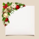 Κάρτα Χριστουγέννων με τα κουδούνια, τον ελαιόπρινο, τις σφαίρες και το poinsettia Διάνυσμα eps-10 Στοκ φωτογραφίες με δικαίωμα ελεύθερης χρήσης