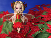 Poinsettia Fairy with Gift Royalty Free Stock Photography