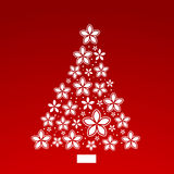 Poinsettia flower Christmas tree. Pine shaped with scattered flowers Stock Image