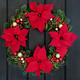 Poinsettia Flower Wreath Stock Photography