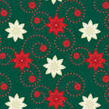 Poinsettia pattern on green background Royalty Free Stock Photography