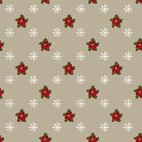 Poinsettia and snowflakes on gray background. Seamless wallpaper Royalty Free Stock Photo
