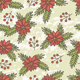 Poinsettia and spruce twigs seamless pattern Royalty Free Stock Photo