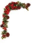 Poinsettia- und Weihnachtsdekorationrand Stockfoto