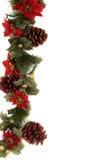 Poinsettia- und Weihnachtsdekorationrand Stockbild
