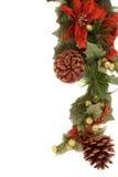 Poinsettia- und Weihnachtsdekorationseitenrand Lizenzfreie Stockfotografie