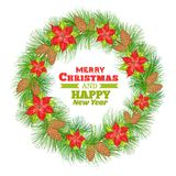 Poinsettia wreath. Royalty Free Stock Images