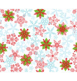 Poinsettias идут снег хлопья Стоковое Фото