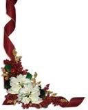 Poinsettias del blanco de la frontera de la Navidad Foto de archivo libre de regalías