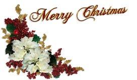 Poinsettias del blanco de la frontera de la Navidad Fotos de archivo