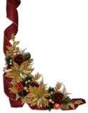 Poinsettias del oro de las cintas de la frontera de la Navidad Fotografía de archivo