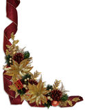 Poinsettias do ouro das fitas da beira do Natal Fotografia de Stock