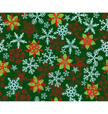 Poinsettias Snow Flakes Green pattern Stock Photography