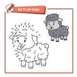 Point à pointiller avec des moutons de bande dessinée Images stock