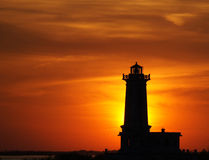 Point Albino Lighthouse at sunset Stock Photos