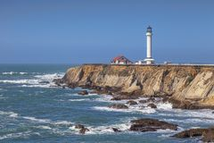 Point Arena, California. Point Arena and its lighthouse, in Mendocino County, California royalty free stock image