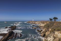 Point Arena, California. Point Arena and its lighthouse, in Mendocino County, California stock images