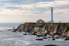Point Arena Lighthouse, California, USA. Point Arena Lighthouse on the rock, California, USA stock images