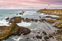 Point Arena Lighthouse is loacated about 130 miles north of San Stock Photo